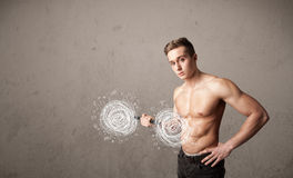 Muscular man lifting chaos concept Stock Photo