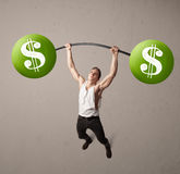 Muscular man lifting green dollar sign weights Stock Photography