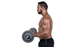 Muscular man lifting heavy barbell Stock Images