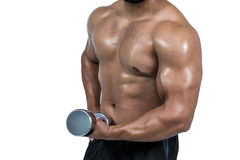 Muscular man lifting heavy dumbbell Stock Image