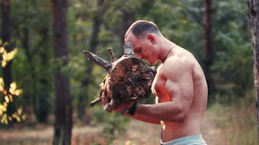 Muscular man lifting a heavy log. Attractive shirtless muscular man lifting a heavy log in a forest, upper body side view stock video footage