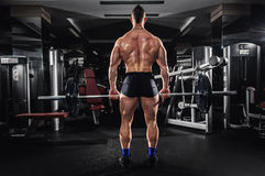 Muscular Man Lifting Some Heavy Barbells. Athlete Working Out. Full Back View Stock Photography