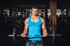 Muscular man lifting weights on biceps and looks at the camera. Over dark background Royalty Free Stock Photos