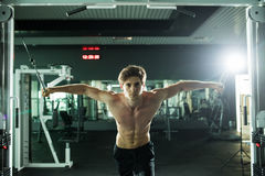 Muscular man lifting weights in fitness gym center. Muscular man lifting weights. Sport health concept stock photo