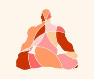 Muscular man meditation. Abstract multicolor illustration Royalty Free Stock Photos