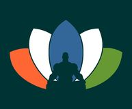 Muscular man meditation. Muscular man sit in meditation pose. Bodybuilder relaxing. Cutout silhouette. Lotus Flower Painted by Indian Flags colors stock images
