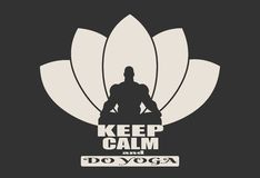 Muscular man meditation. Muscular man sit in meditation pose. Bodybuilder relaxing. Cutout silhouette. Lotus Flower Yoga Center Emblem. Keep calm and do yoga Stock Image