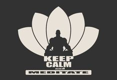 Muscular man meditation. Muscular man sit in meditation pose. Bodybuilder relaxing. Cutout silhouette. Lotus Flower Yoga Center Emblem. Keep calm and meditate Royalty Free Stock Photos