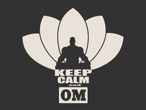 Muscular man meditation. Muscular man sit in meditation pose. Bodybuilder relaxing. Cutout silhouette. Lotus Flower Yoga Center Emblem. Keep calm and om text Royalty Free Stock Photos