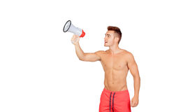 Muscular man with megaphone Royalty Free Stock Photography