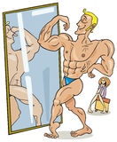 Muscular man in mirror stock illustration