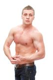 Muscular man with naked torso isolated on white Stock Photo