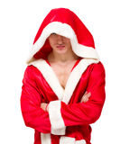 A muscular man in an open hooded jacket Royalty Free Stock Photos