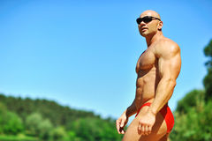Muscular man outdoor portrait - copyspace Stock Photo