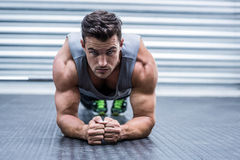 A muscular man on plank position. Portrait of a muscular man on plank position Stock Image