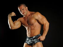 Muscular man poses Stock Image