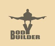 Muscular man posing on bodybuilder word. Vector silhouette Stock Images