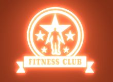 Muscular man posing. Bodybuilding coat of arms. Sporty style stamp. 3D rendering. Neon shine backlight Royalty Free Stock Images