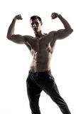 Muscular man posing, flexing his biceps, showing perfect body. Stock Photography