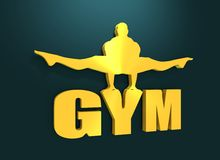 Muscular man posing on gym word. Cutout silhouette Stock Image