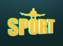 Muscular man posing on sport word. Cutout silhouette Royalty Free Stock Photography