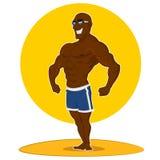 Muscular man posing. Vector illustration Royalty Free Illustration
