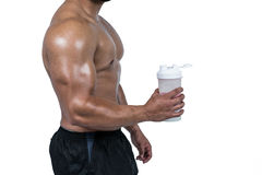 Muscular man with protein powder Stock Photo