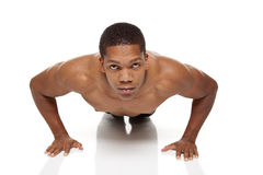 Muscular man pushups Stock Image