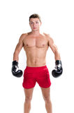 Muscular man ready for  box Stock Photo
