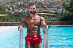 Muscular Man Resting In Swimming Pool Stock Photography