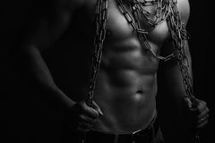 Muscular man with rope Royalty Free Stock Photography