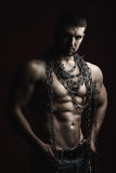 Muscular man with rope Royalty Free Stock Image