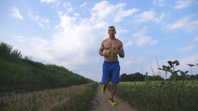 Muscular man running at country road. Young athletic guy jogging at rural trail over the field. Male sportsman training stock footage