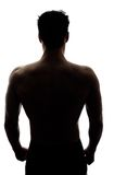 Muscular man's back in silhouette Royalty Free Stock Images
