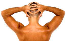 Muscular man showing his back Royalty Free Stock Photography