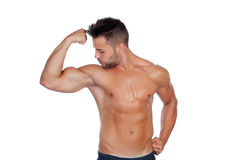 Muscular man showing his body Royalty Free Stock Image