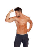 Muscular man showing his body Royalty Free Stock Photo