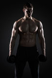 Muscular man showing perfect body with dumbbells on black background Stock Image