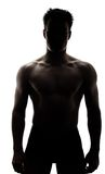 Muscular man in silhouette. Isolated on white background Stock Photo