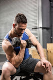 Muscular man sitting on bench lifting dumbbell Stock Photo