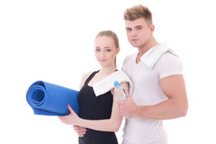 Muscular man and slim woman after training isolated on white Royalty Free Stock Photos
