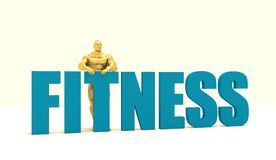 Muscular man standing near fitness word. Golden figure. Bodybuilding relative image. 3d rendering Stock Image