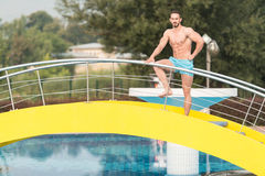 Muscular Man In Underwear Resting At Swimming Pool Royalty Free Stock Photo