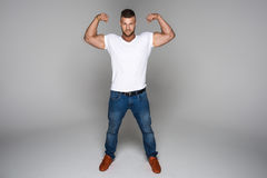 Muscular man wear jeans Stock Photography