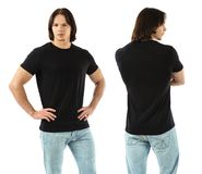 Muscular man wearing blank black shirt Stock Images