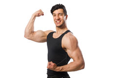 Muscular man on the white Royalty Free Stock Image