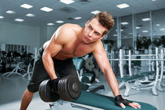 Muscular man working his biceps Royalty Free Stock Image