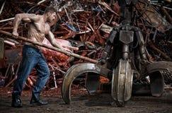 Muscular man working Royalty Free Stock Image