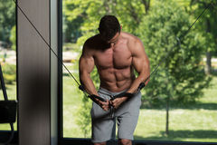 Muscular Man Working Out Chest On Cable Machine Stock Photography
