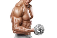 Muscular man working out doing exercises with dumbbells at biceps, strong male naked torso abs, isolated.  stock image
